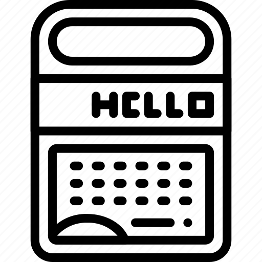 outline, retro, speak, spell, tech, tomy icon