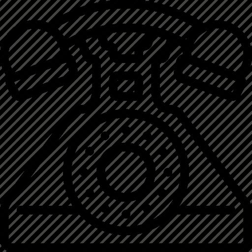 outline, phone, retro, tech, telephone icon