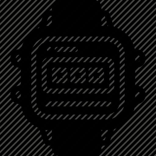 casio, digitla, retro, solid, tech, watch icon