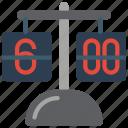 clock, flip, retro, tech, time