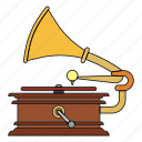 gramophone, music, opera, plays, retro, songs, vinyl icon