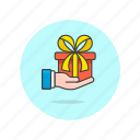 gift, hand, present, rewards icon