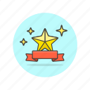 achievement, award, banner, prize, reward, ribbon, star icon