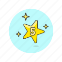 achievement, award, five, prize, reward, star, top icon