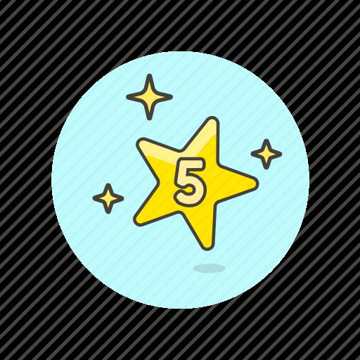 achievement, award, five, prize, reward, star, top icon