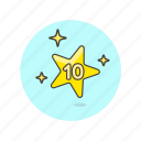 achievement, award, prize, reward, star, ten, top icon