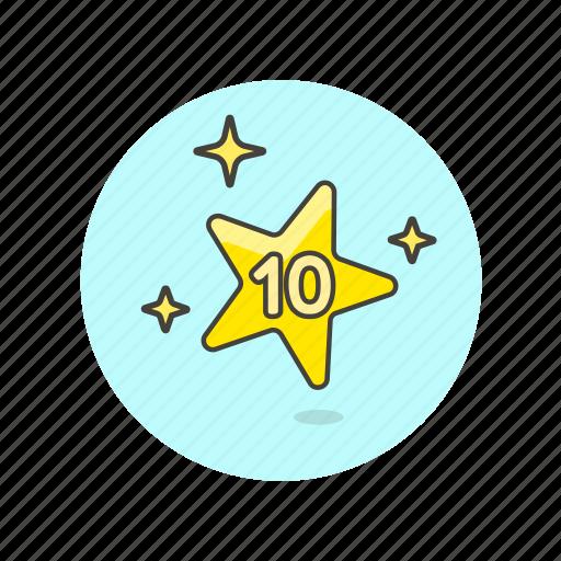 achievement, award, prize, reward, star, ten, top icon