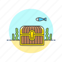 achievement, award, chest, close, prize, reward, sea, treasure icon