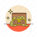 achievement, award, chest, gold, opened, prize, reward, treasure icon