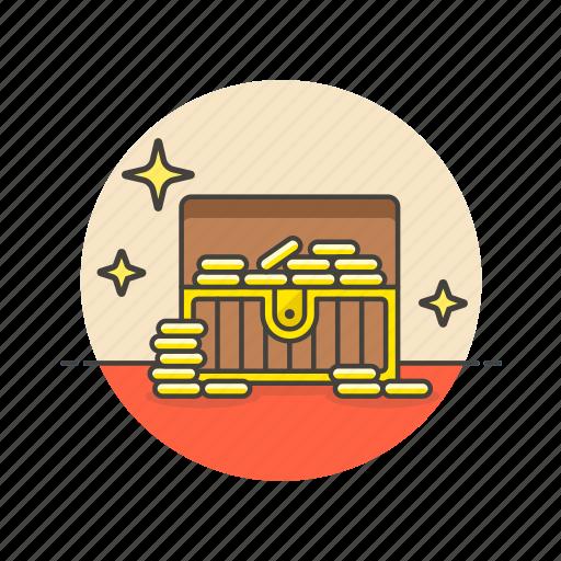 achievement, award, chest, gold, opened, prize, reward, treasure icon