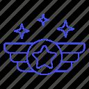 star, gold, air, rewards, ranking, wing, circle, rank, badge, insignia