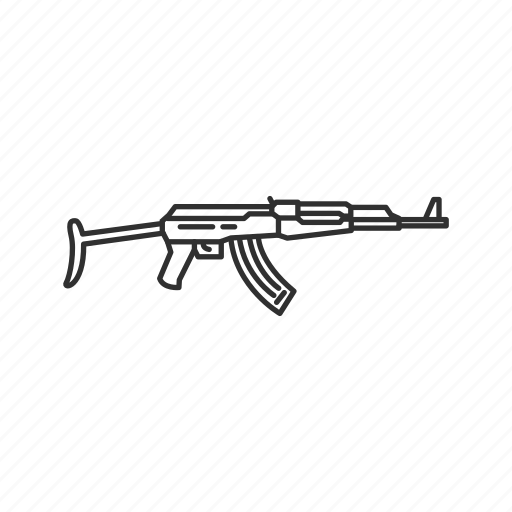 guns, kalashnikov aks, projectile, rifle, war, weapon icon