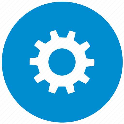 blue, configuration, gear, options, round, settings icon