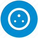 blue, charge, electric, electricity, plug, round, socket icon