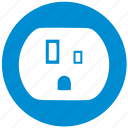 blue, electric, electricity, round, socket, tyoe, usa icon
