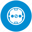blue, electric, euro, round, socket, standart, type icon