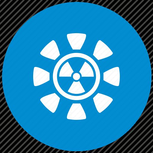 blue, radiation, round icon