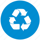 blue, eco, garbage, item, recycle, round icon