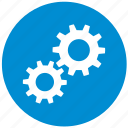 blue, details, engine, gear, round, settings icon