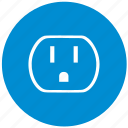 blue, electric, round, socket, standart, type, usa icon