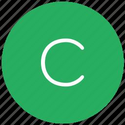 c, green, key, keyboard, letter icon