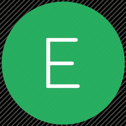 e, green, key, keyboard, letter icon