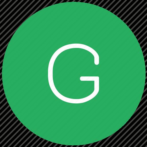 g, green, key, keyboard, letter icon
