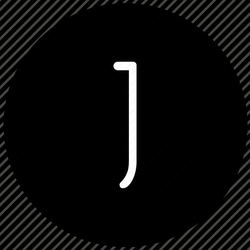 j, key, keyboard, letter, round icon