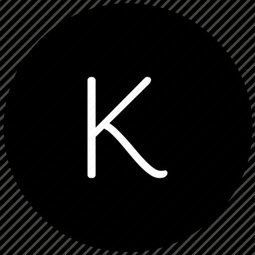k, key, keyboard, letter, round icon