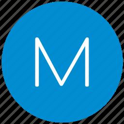 key, keyboard, letter, m, round icon