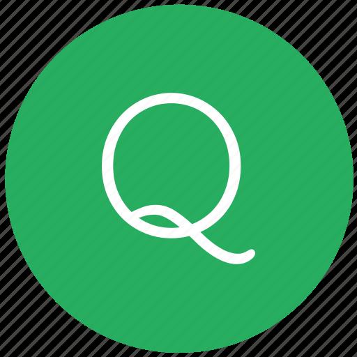 green, key, keyboard, letter, q icon
