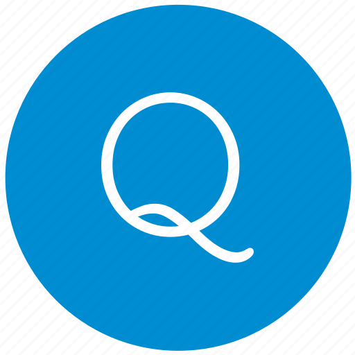 key, keyboard, letter, q, round icon