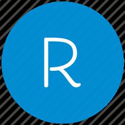 key, keyboard, letter, r, round icon