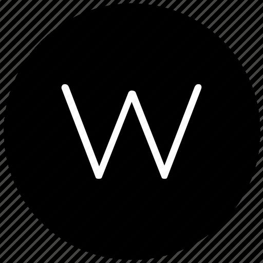 key, keyboard, letter, round, w icon