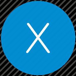 key, keyboard, letter, round, x icon