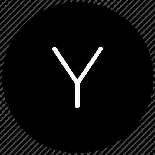 key, keyboard, letter, round, y icon