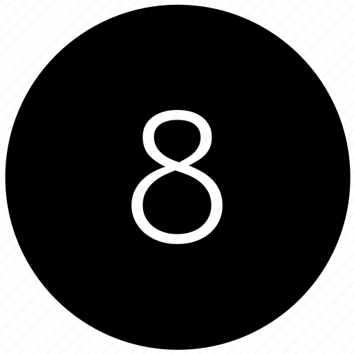 eight, keyboard, number, round icon