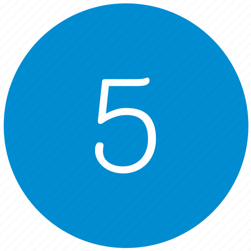 five, keyboard, number, round icon