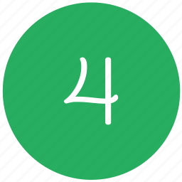 four, green, keyboard, number icon