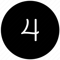 four, keyboard, number, round icon