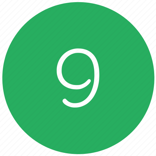 green, keyboard, nine, number icon