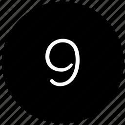 keyboard, nine, number, round icon