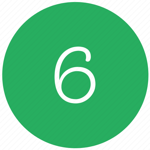 green, keyboard, number, six icon