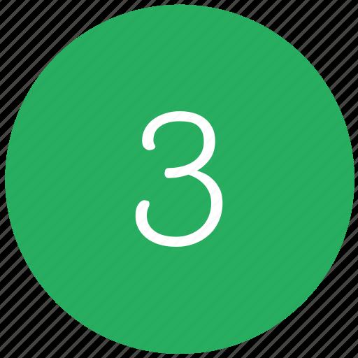 green, keyboard, number, three icon