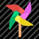 whirligig, pinwheel, plaything, paper windmill, paper wheel icon