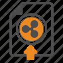 ripple, document, blockchain, upload icon