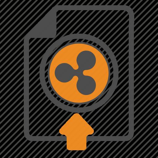 blockchain, document, ripple, upload icon