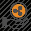 ripple, blockchain, hand icon