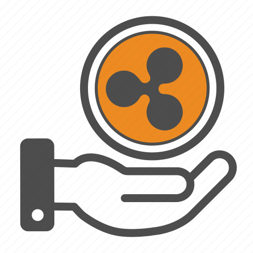 blockchain, hand, ripple icon