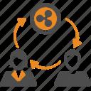 ripple, assignment, money, blockchain, transfer icon